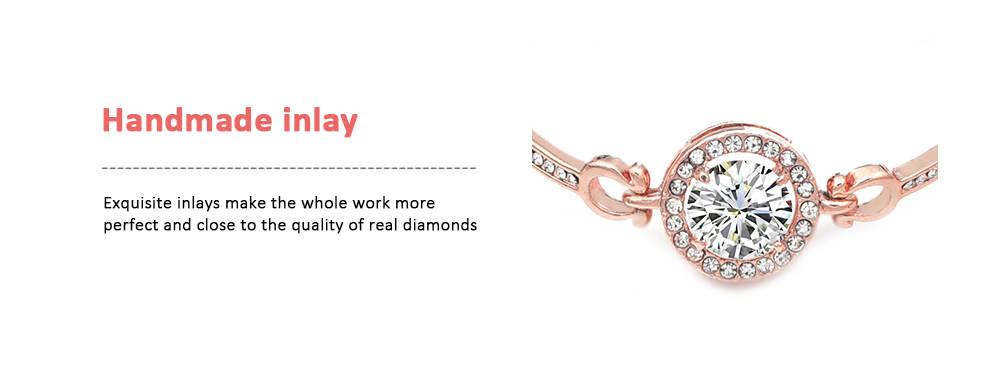 Rose Gold Popular Bracelets Zircon Simple Women's Wear Bracelet Korean Crystal Jewelry- Rose Gold