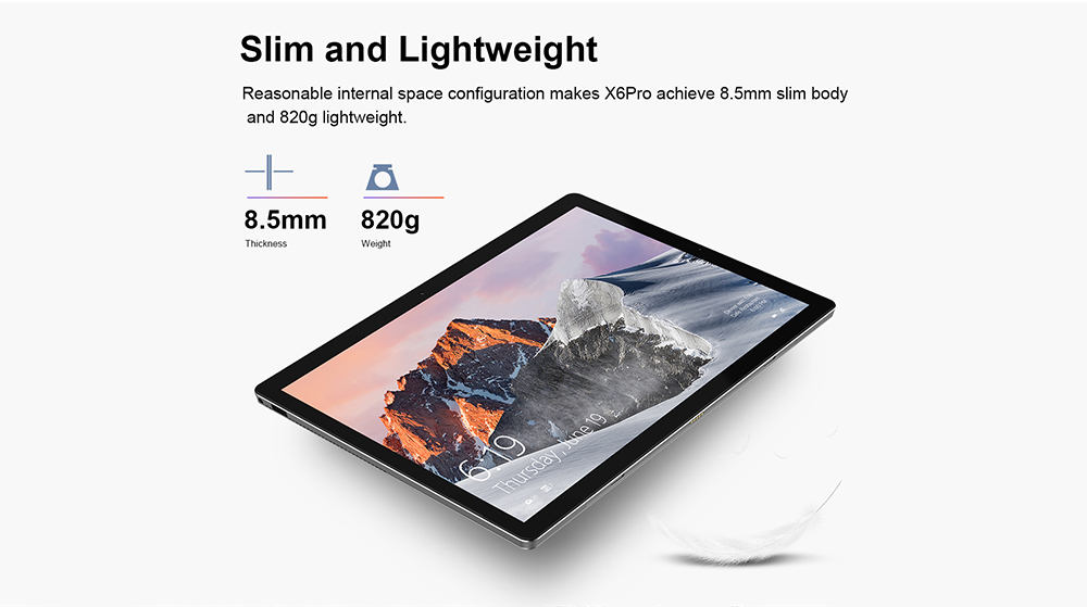 Tablette Teclast X6 Pro 2 en 1 12,6 pouces Windows 10 Home Version anglaise Intel Core m3-7Y30 Dual Core 1.1GHz 8 Go de RAM 256Go SSD Double Caméras Type C HDMI- Argent