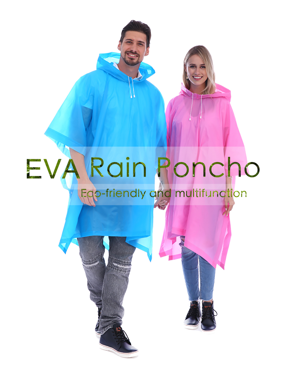 EVA Waterproof Rain Poncho Raincoat with Hoods for Outdoor Camping on
