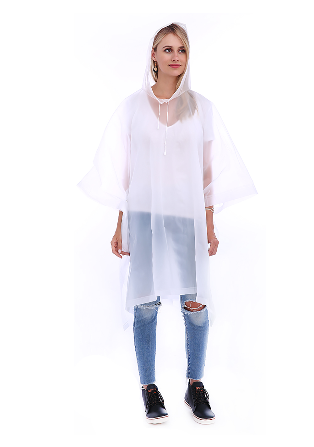 EVA Waterproof Rain Poncho Raincoat with Hoods for Outdoor Camping Theme Park- Transparent
