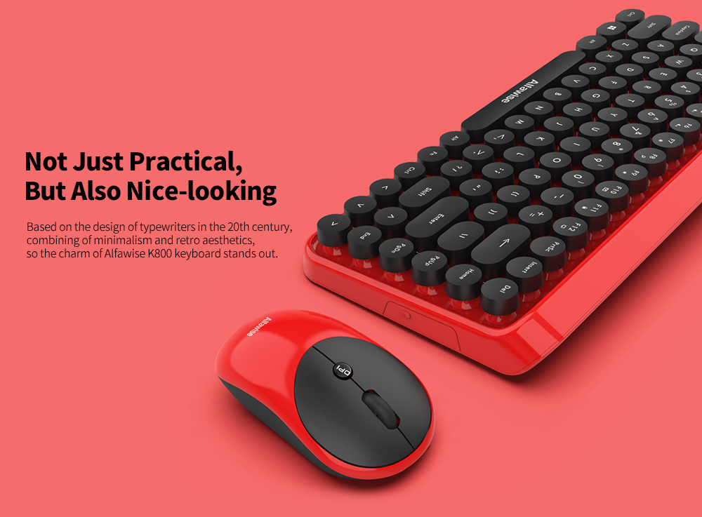 Alfawise K800 2 in 1 2.4GHz Retro Wireless Keyboard Mouse Combo- Red