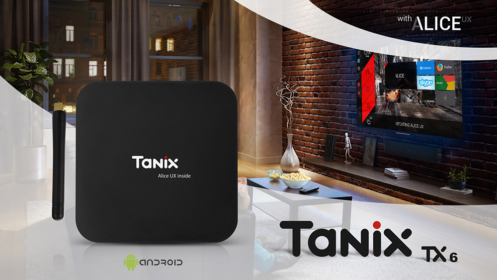 Tanix TX6 TV Box Allwinner H6 4GB DDR3 + 32GB EMMC 2.4GHz + 5GHz WiFi BT4.1 Support 4K H.265- Black EU Plug