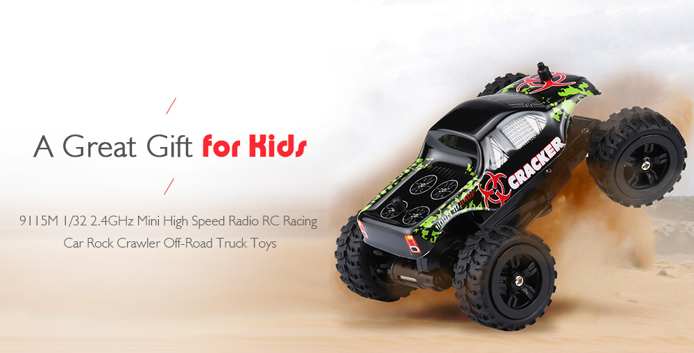 9115M 1/32 2.4GHz Mini High Speed Radio RC Racing Car Rock Crawler Off-Road Truck Toys- Black