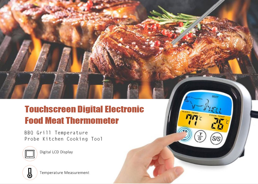 Digital Electronic Food Meat Thermometer BBQ Grill Temperature Probe Kitchen Cooking Tool- Black Touch switch