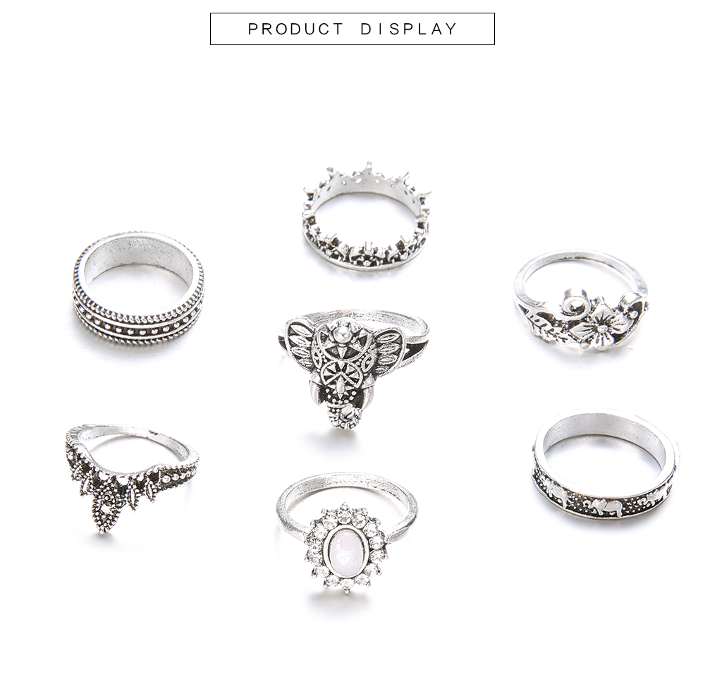 7 Pcs/Set Bohemia Antique Silver Elephant Flower Rose Heart Crown Carved Rings- Silver