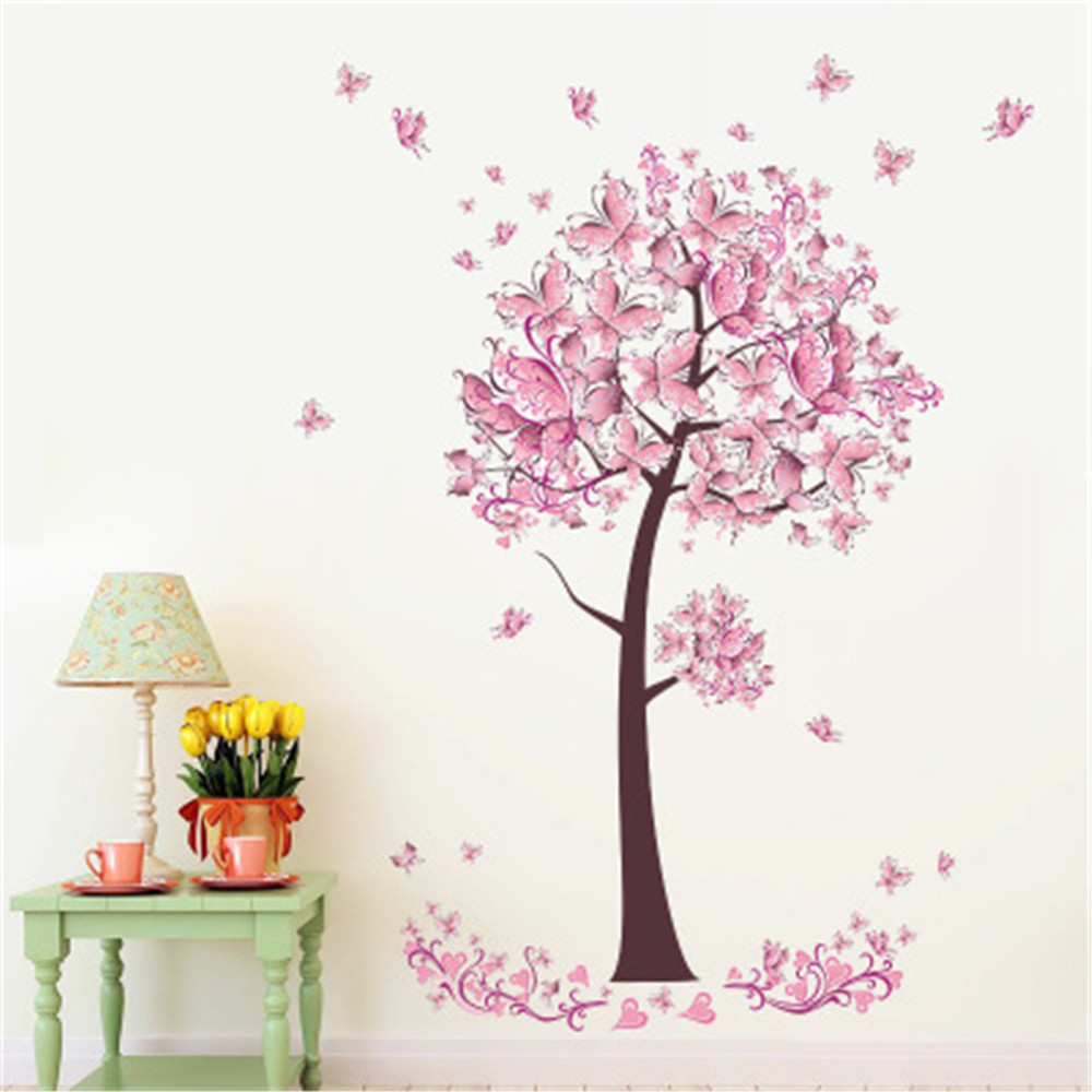 Pink Plum Tree Wall For Living Room Bedroom Wall Decoration Stickers Sale Price Reviews Gearbest