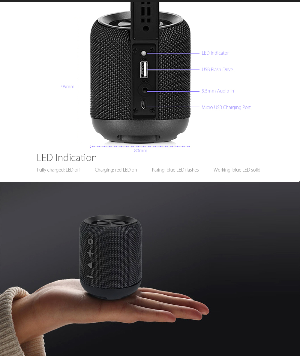 Alfawise CET968 Bluetooth Speaker Portable Wireless Stereo- Black