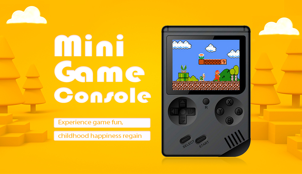 Mini Nostalgic Handheld Game Console for Children- Black