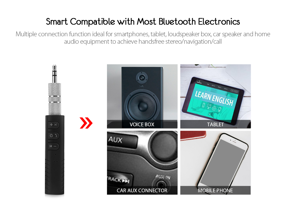 3.5mm AUX Audio Stereo Music Car Speaker Adapter Bluetooth V4.1 Receiver- Black