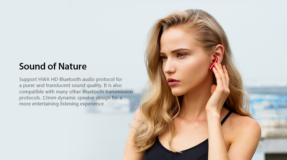 HUAWEI Honor FlyPods CM - H2S Wireless Binaural Bluetooth Earphones Touch Control IP54 Waterproof Earbuds with Mic and Charging Dock- Coral Blue