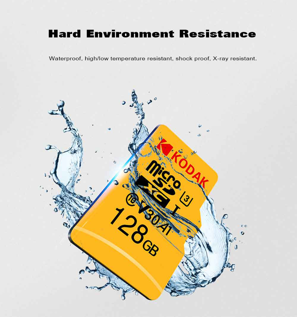 Kodak High Speed ​​U3 A1 V30 TF / Micro SD Hukommelseskort / 32GB / 64GB / 128GB Support 4K- Gul 64GB