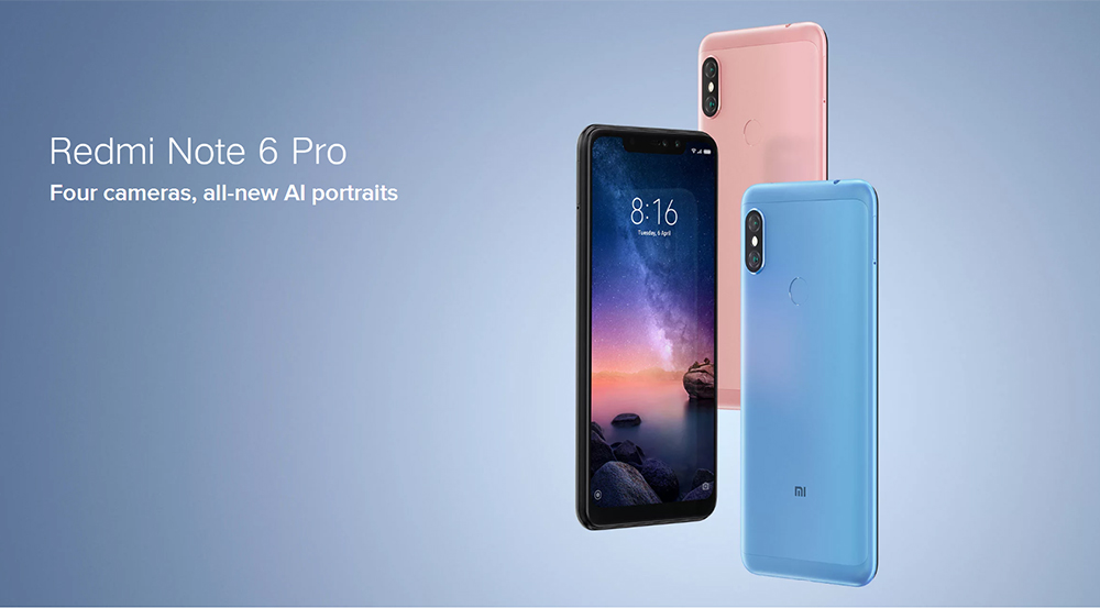 Xiaomi Redmi Note 6 Pro 4G Phablet 6.26 inch Snapdragon 636 Octa Core 1.8GHz 4GB RAM 64GB ROM 12.0MP + 5.0MP Rear Camera Fingerprint Sensor- Black