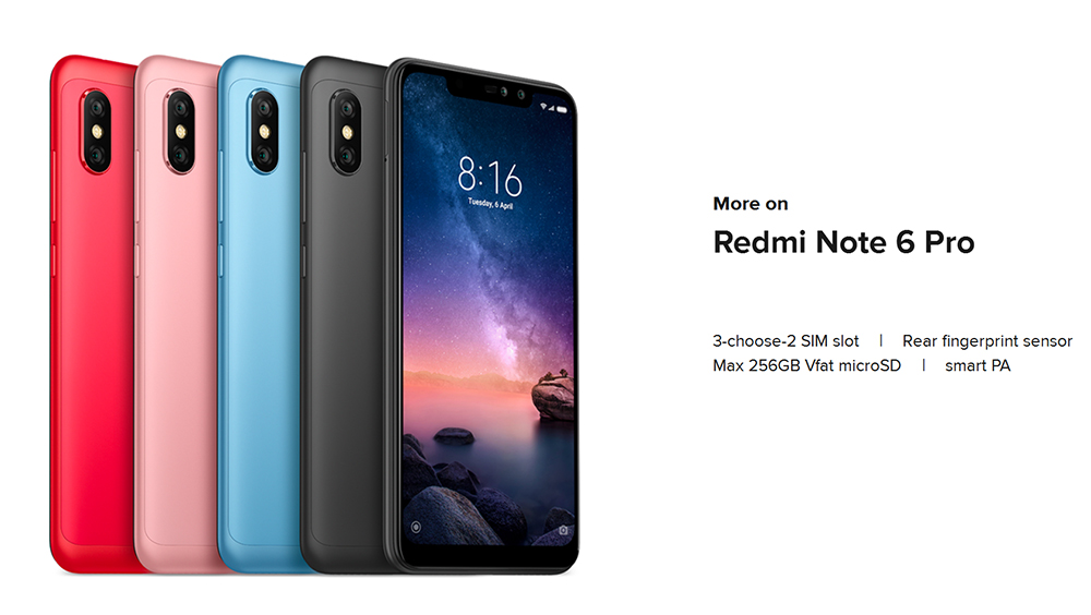 Xiaomi Redmi Note 6 Pro 4G Phablet 6.26 inch Qualcomm Snapdragon 636 Octa Core 1.8GHz 4GB RAM 64GB ROM 12.0MP + 5.0MP Rear Camera Fingerprint Sensor- Black
