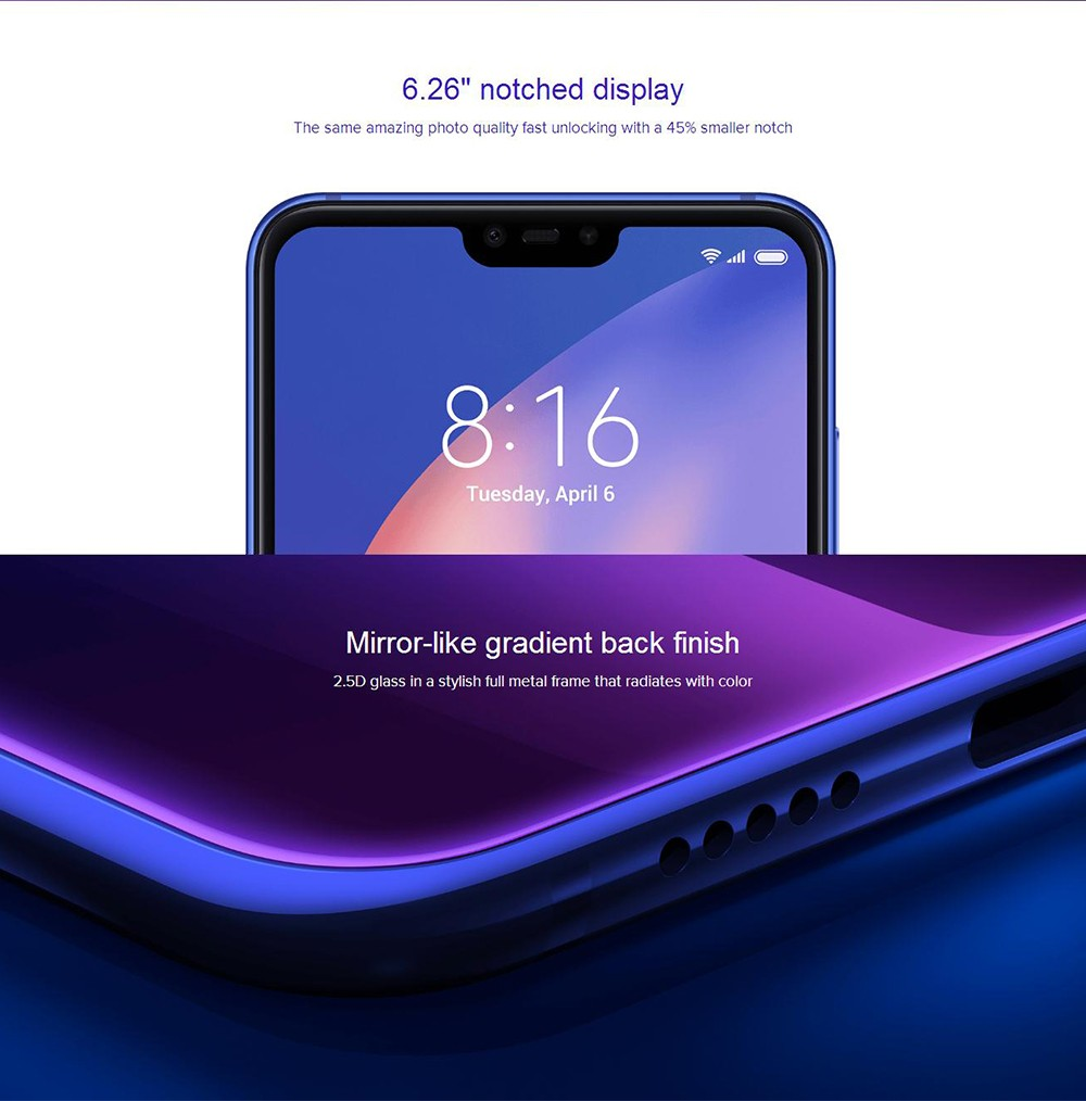 Xiaomi Mi 8 Lite 4G Phablet Android 8.1 6.26 inch Snapdragon 660 Octa Core 2.2GHz 4GB RAM 64GB ROM Dual Rear Cameras- Blue