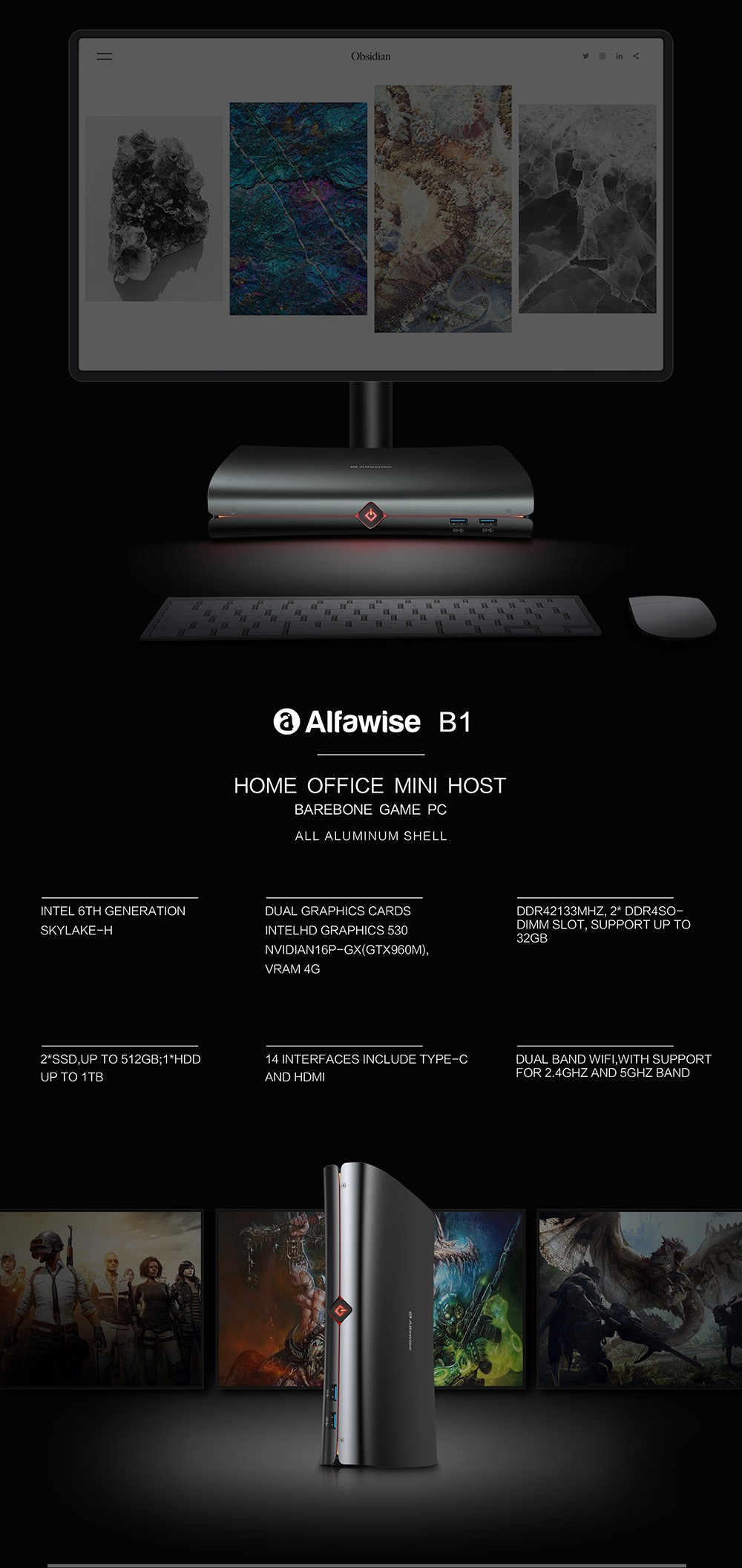 Alfawise B1 Barebone Game Mini PC- Gray i7-6700HQ/GTX960M