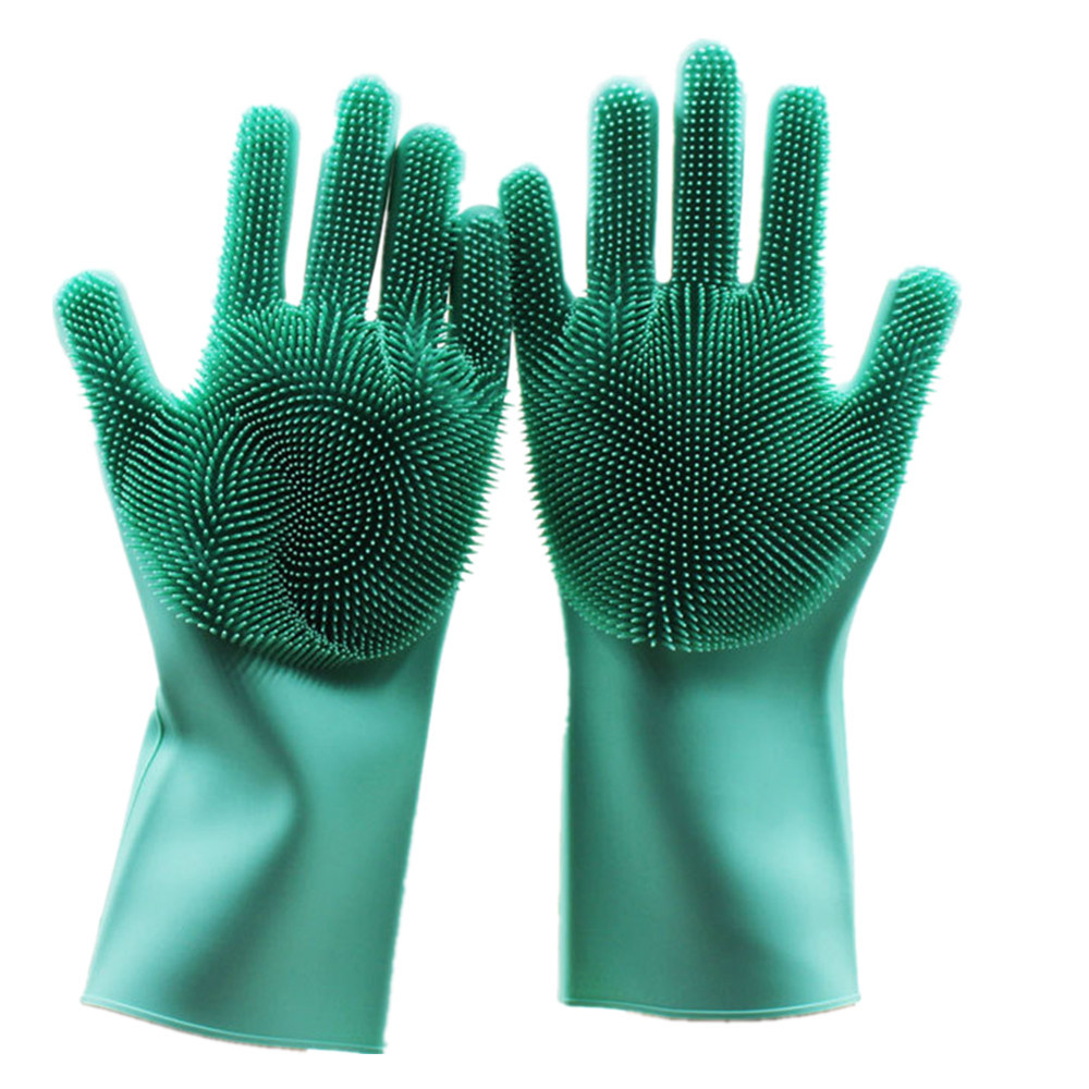1 Pair Magic Silicone Dish Washing Gloves Eco-Friendly Scrubber Cleaning- Green