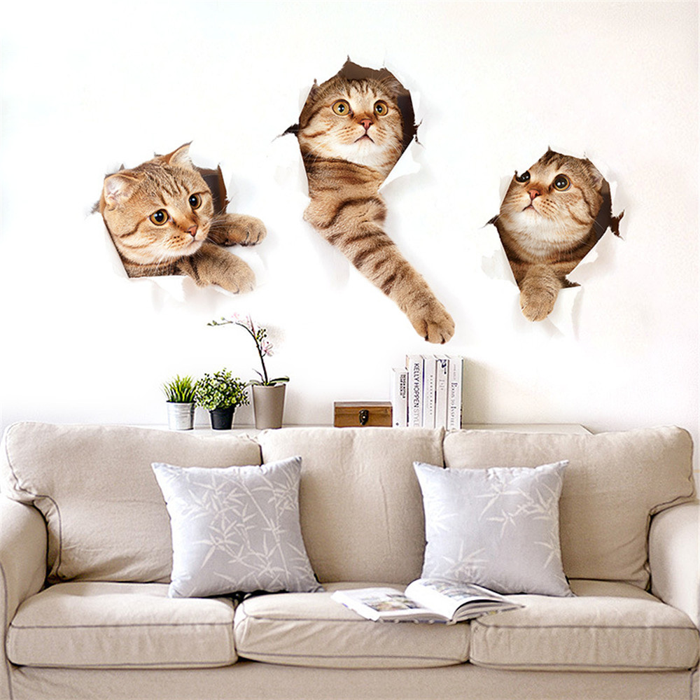 Newest Home Decor Cats 3d Wall Stickers Hole View Toilet Sticker Cat Home Decor