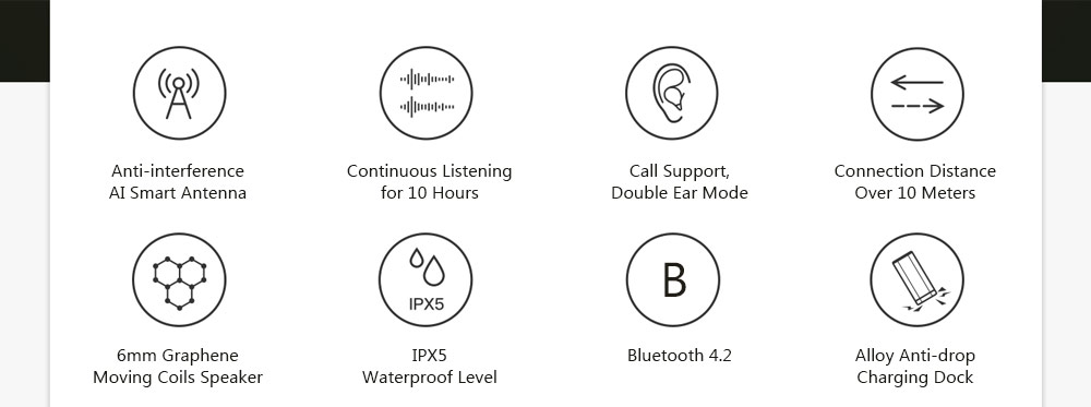 Lenovo Air TWS IPX5 Waterproof Bluetooth Earphones True Wireless Earbuds with Mic and Charging Dock- Black