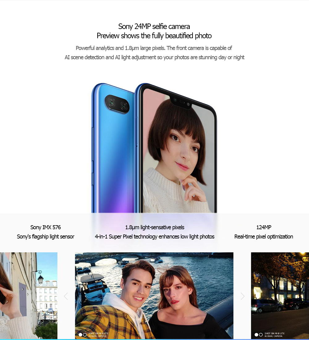 Xiaomi Mi 8 Lite 4G Phablet Android 8.1 6.26 inch Snapdragon 660 Octa Core 2.2GHz 6GB RAM 128GB ROM Dual Rear Cameras - Black