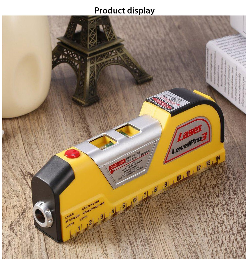 LV02 Laser Level Horizontal Vertical Line Measure Measuring Tape- Yellow