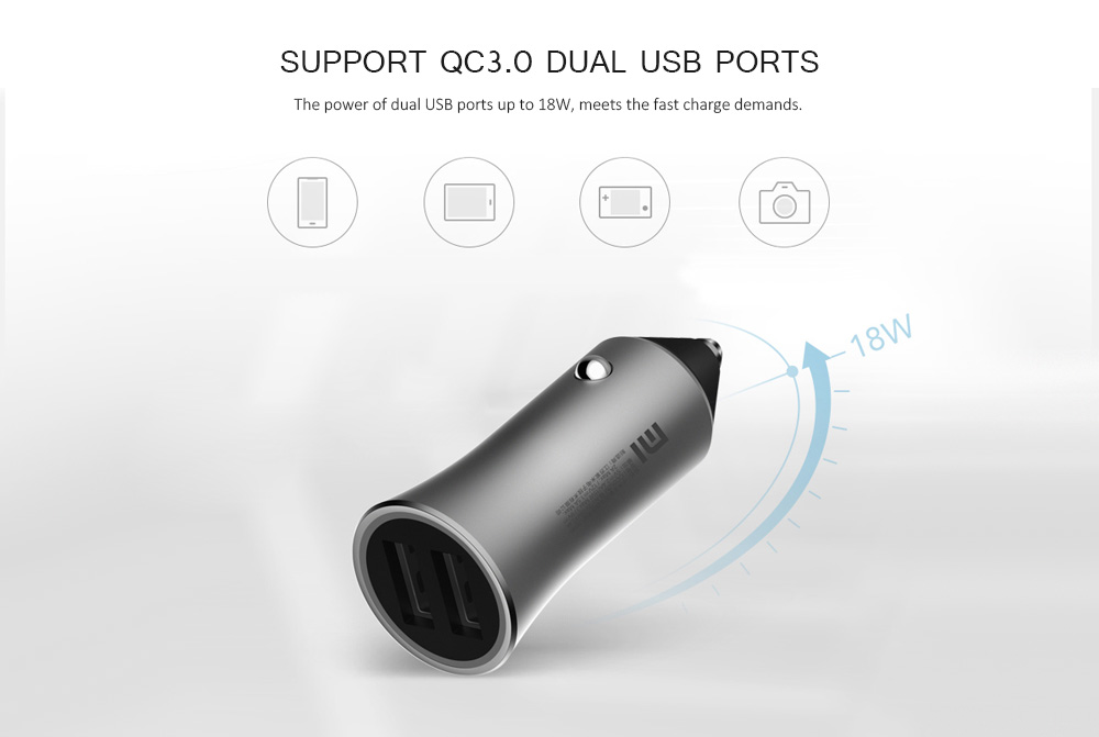 Xiaomi CC05ZM Double USB Port Design Car Charger - Platinum