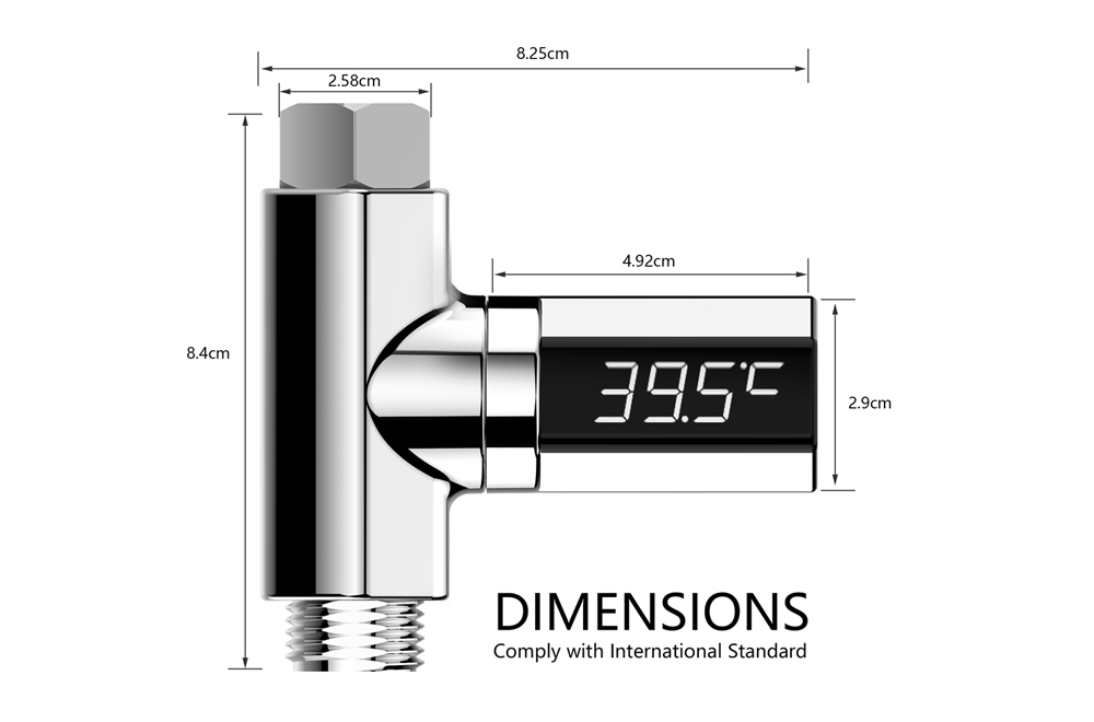 Water Temperature Display Thermometer - Silver