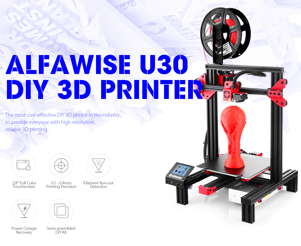 Alfawise U30 DIY 3D Printer 220 x 220 x 250mm with Extruder 1.75mm 0.4mm Nozzle- Black US Plug