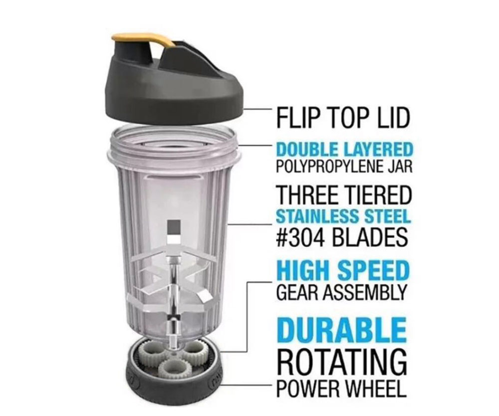 Convenient Hand-operated Leakage Protective Gear Mixing Cup- Black