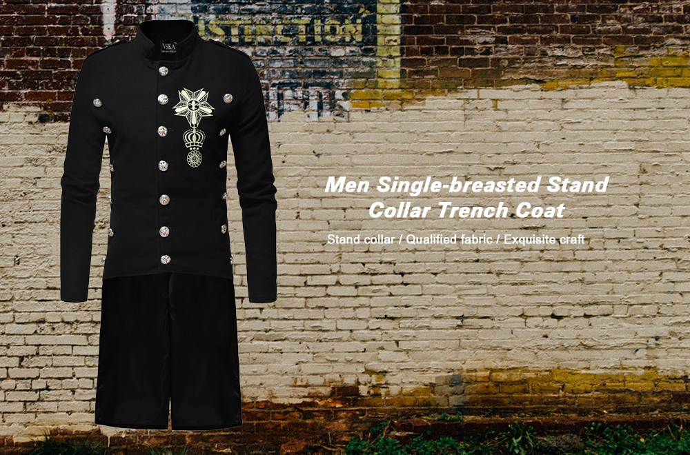24daab57d7 Men Single-breasted Stand Collar Slim Trench Coat- Army Green M