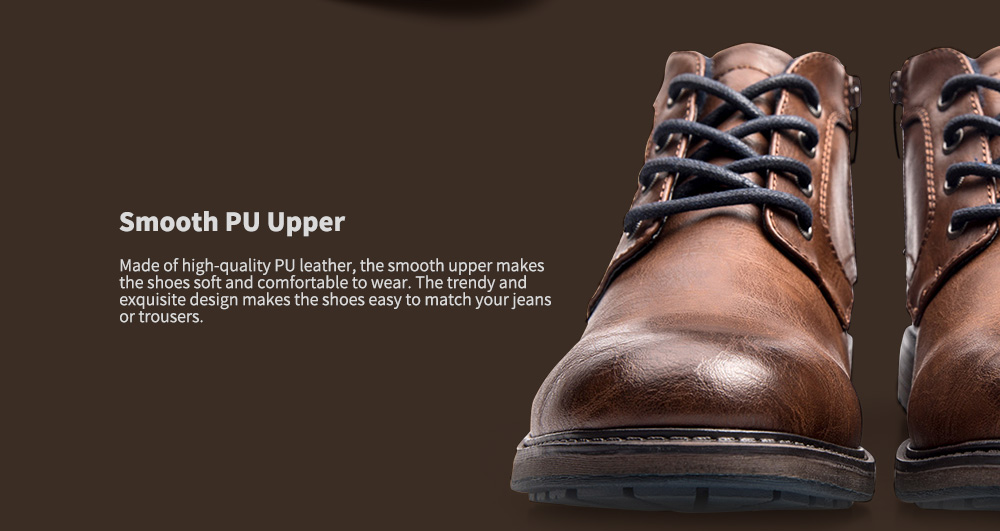 cb6e8798a22081 XPER Trendy British Style Anti-slip Cotton-padded Lace-up Boots for Men
