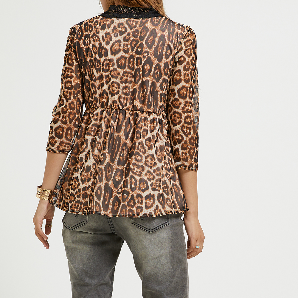058a6a325ed SBETRO Leopard Chiffon Blouse Deep V Neck 3/4 Sleeve Pleated Tunic Top-  Leopard