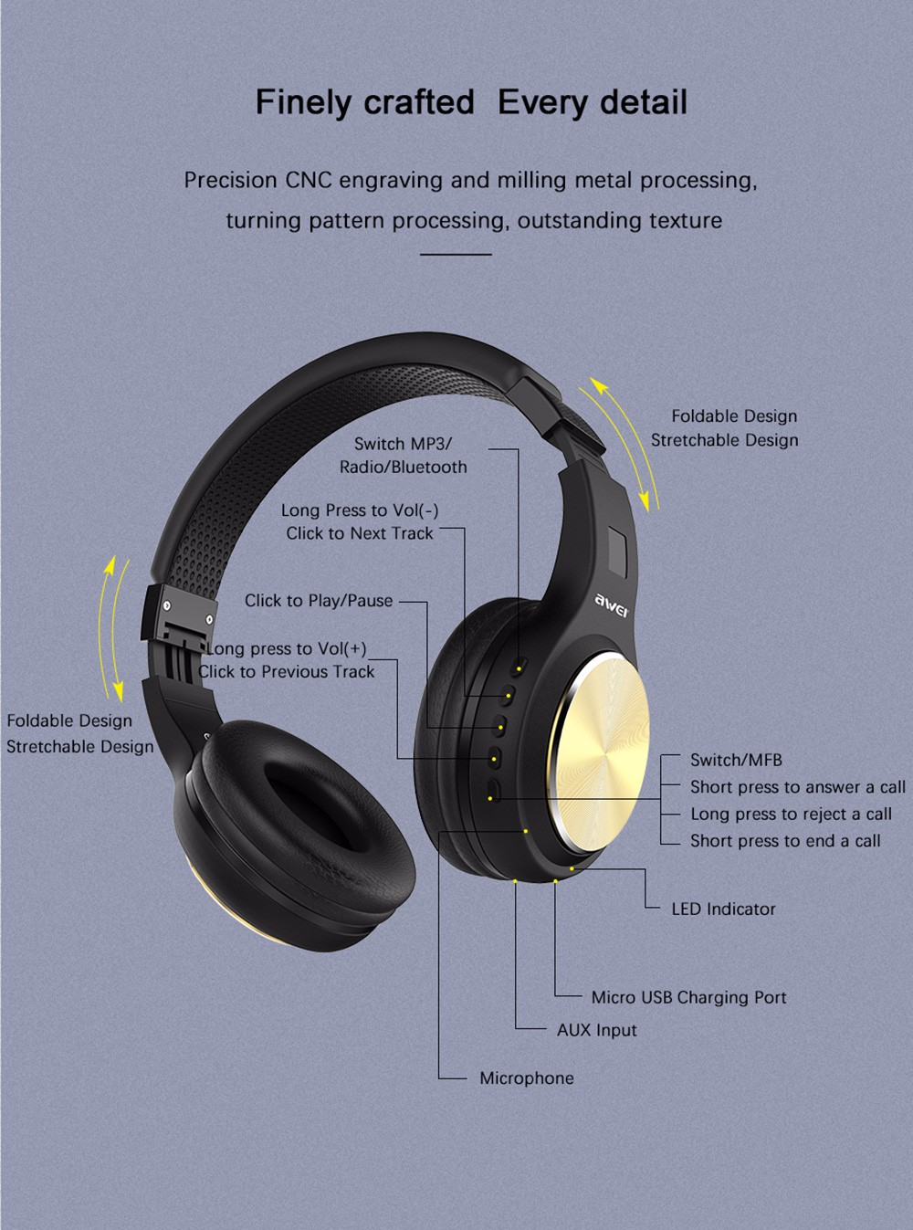 Awei A600BL HiFi Wireless Bluetooth Sports Headphone Foldable Bass Stereo 3.5mm Aux-in Headset with Mic- Black