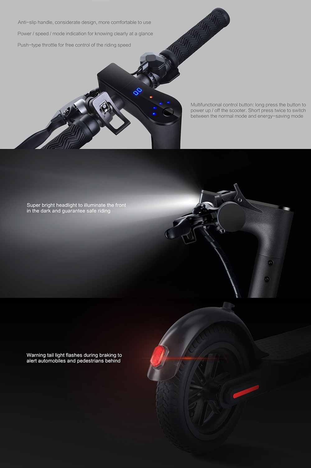 Alfawise M1 Folding Electric Scooter 30km Cruising Distance Puncture-resistant Tire Energy Recovery - Black 350W