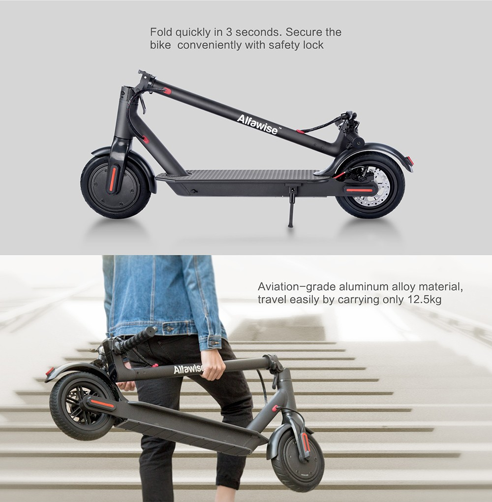 Alfawise M1 Folding Electric Scooter 30km Cruising Distance Puncture-resistant Tire Energy Recovery- Black 350W