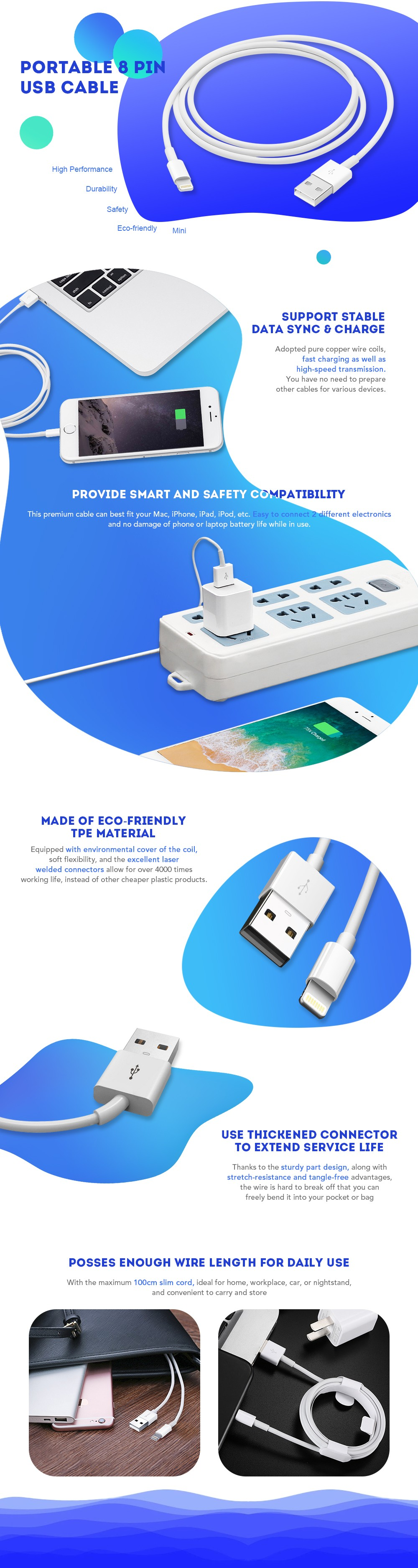1M Data Sync Charger USB Cable Cord Wire for 8 Pin Devices- White