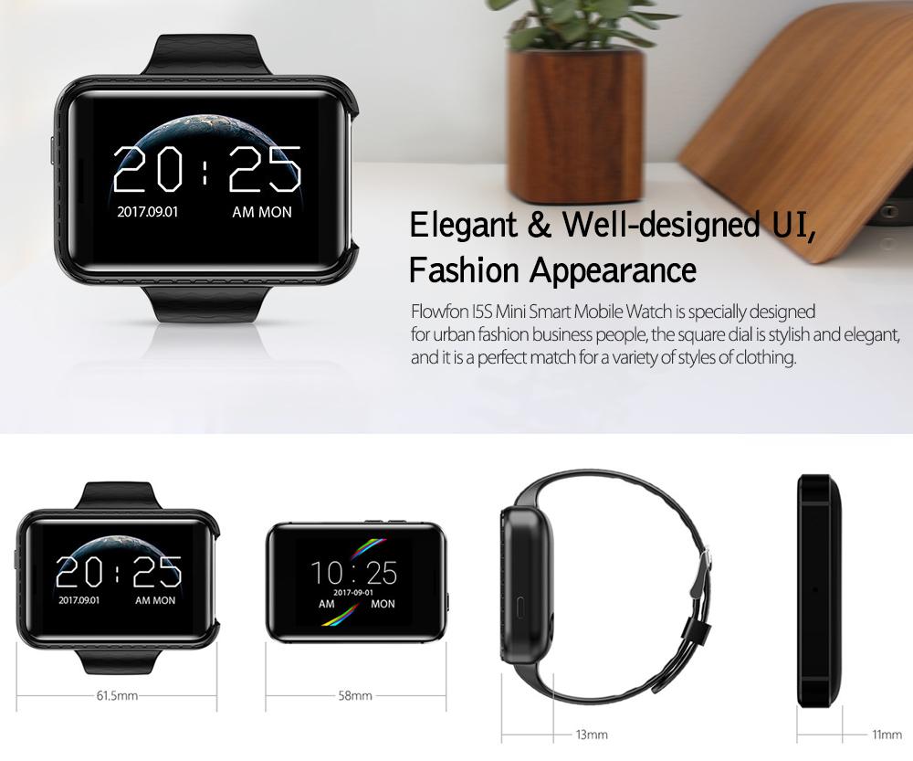 Flowfon I5S Smart Mobile Watch MP3 MP4 Player Sleep Monitor Pedometer Built in Camera GSM SIM Mini Phone Smartwatch for iOS Android- Black