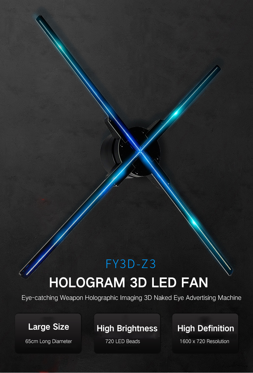 Utorch Z3 Holographic Display LED Fan Advertising Machine AC 100 - 240V- Black