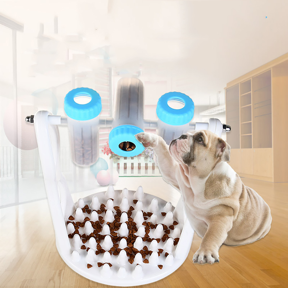 Pets Puzzle Interest Feeding The Choke Bowl Dogs and Cats Toy Leakage Food Cup- Deep Sky Blue 22*17*26cm