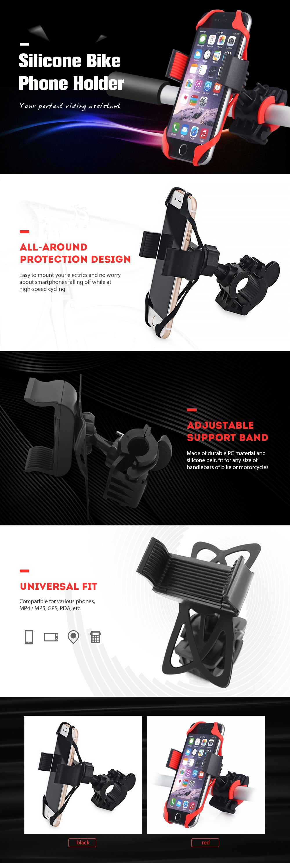Universal Phone Holder with Silicone Support Band - Black
