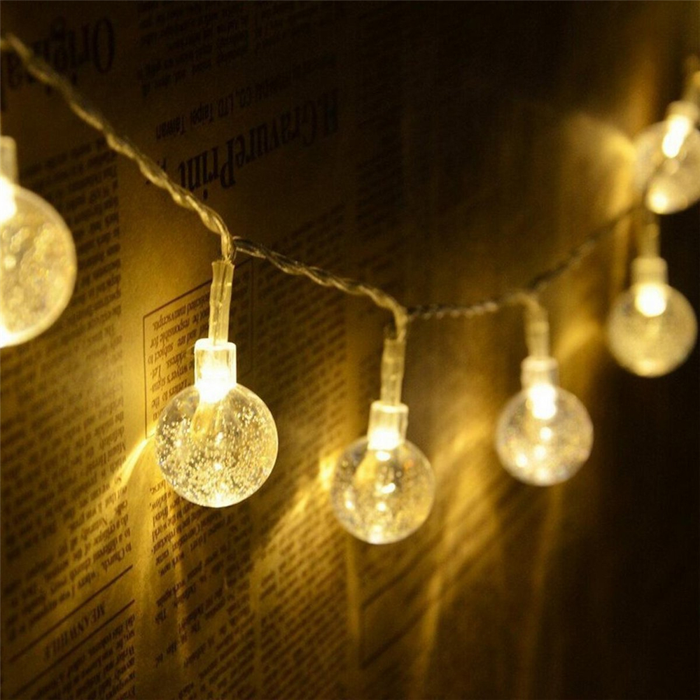 Led Crystal Ball String Lights Room Decoration Light Hanging Lamp Curtain Warm White 1m