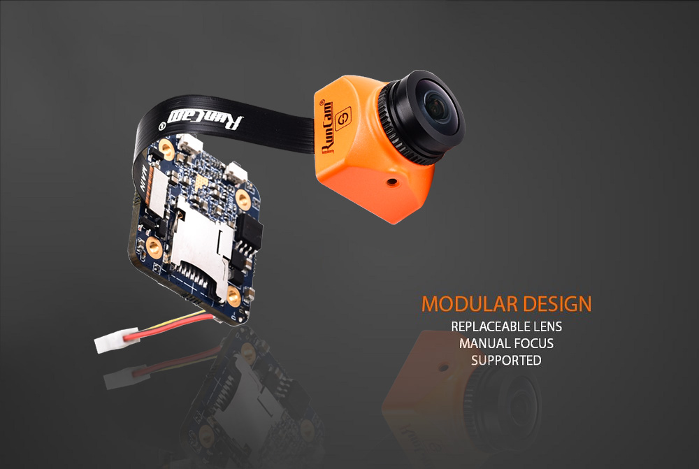RunCam Split Mini 2 FOV 130-degree 1080P / 60fps HD Recording WDR FPV Camera NTSC / PAL Switchable- Dark Orange