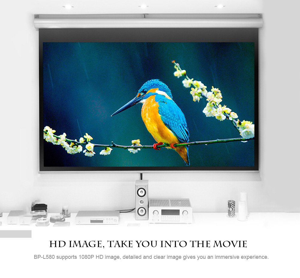 BP - L580 LCD Home Theater Projector 1280 x 768P Support 1080P Android 6.0 USB x 2 HDMI x 2 VGA AV- White US Plug