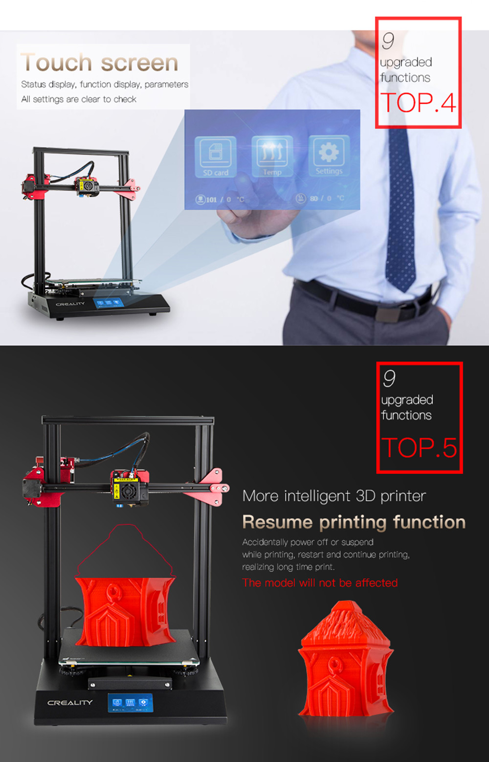 CREALITY 3D CR-10S Pro Auto Leveling Sensor Printer 4.3 inch Touch LCD Resume Printing Filament Detection Funtion Mean Well Power - Black EU Plug