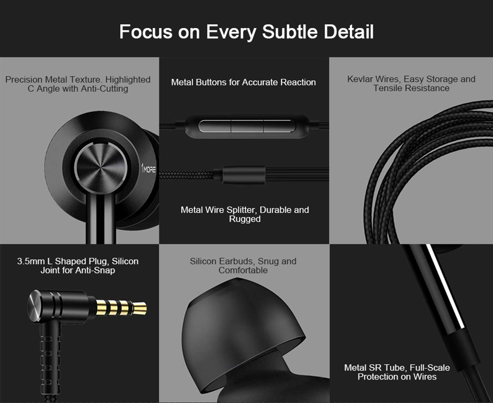 1 MORE E1017 Double Driver In-ear Earphones Universal 3.5mm Earbuds with Mic and In-line Control - Black
