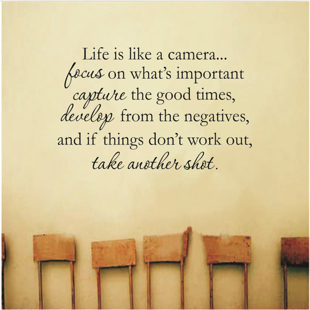 Life Is Like A Camera Wall Decal Quote Wall Saying Wall Vinyl Stickers Amazon Co Uk Kitchen H Wall Stickers Quotes Wall Quotes Decals Wall Stickers Words