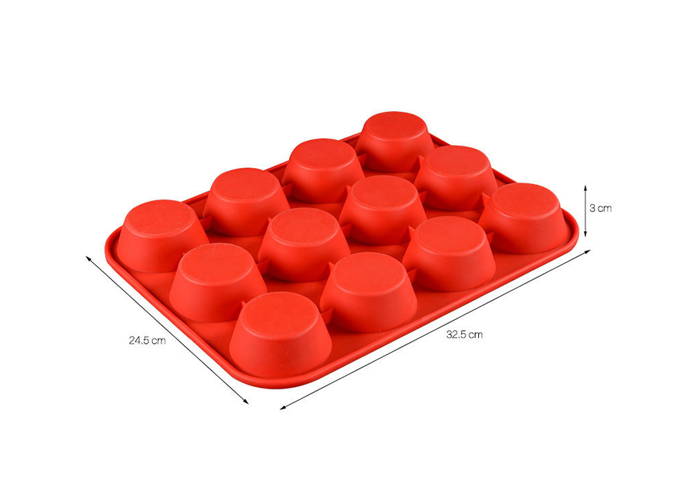 Muffin Cup 12 Holes Round Silicone Baking Cake Mold- Red