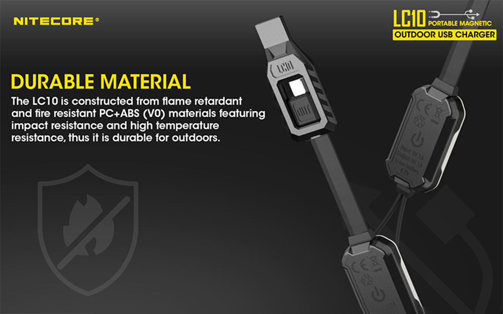 Nitecore LC10 Portable Magnetic USB Charger