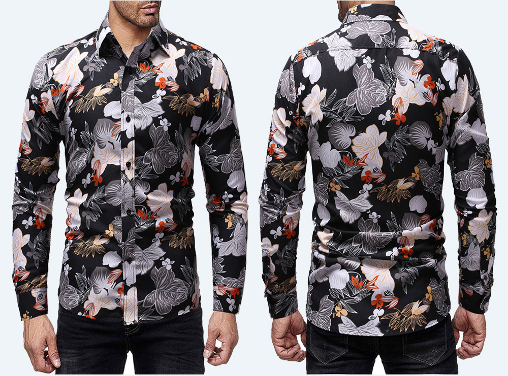 SELX Men Turn-Down Collar Hipster Leisure Short Sleeve Floral Fitted Tee