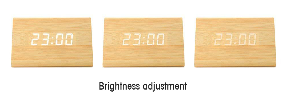 Small Triangle Digital Alarm Clock Wooden Desktop Decoration for Office Students- Wood