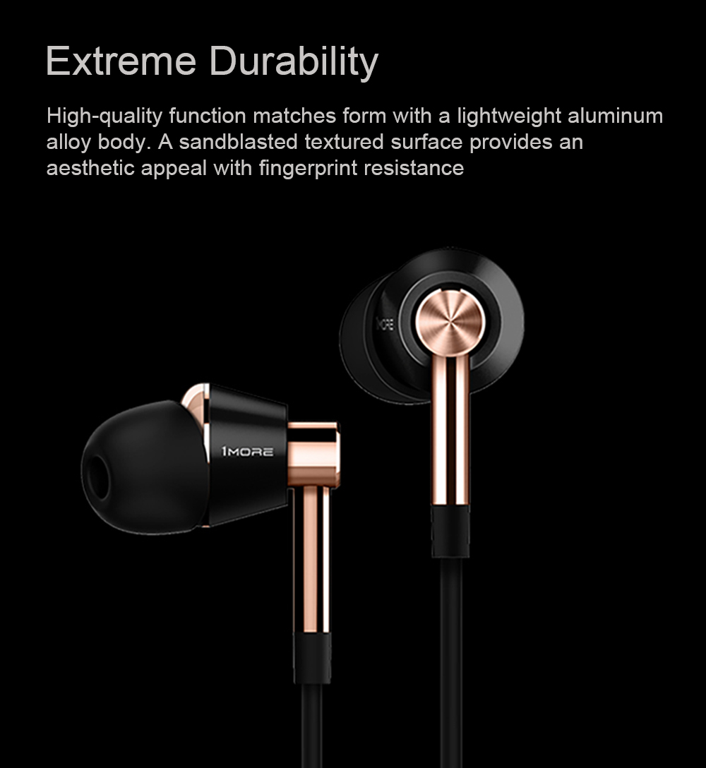 1 MORE E1001 Triple Driver Balanced Armature and Dynamic Unit HiFi Earphone Universal 3.5mm In-ear Earbuds with Mic and In-line Control- Gold